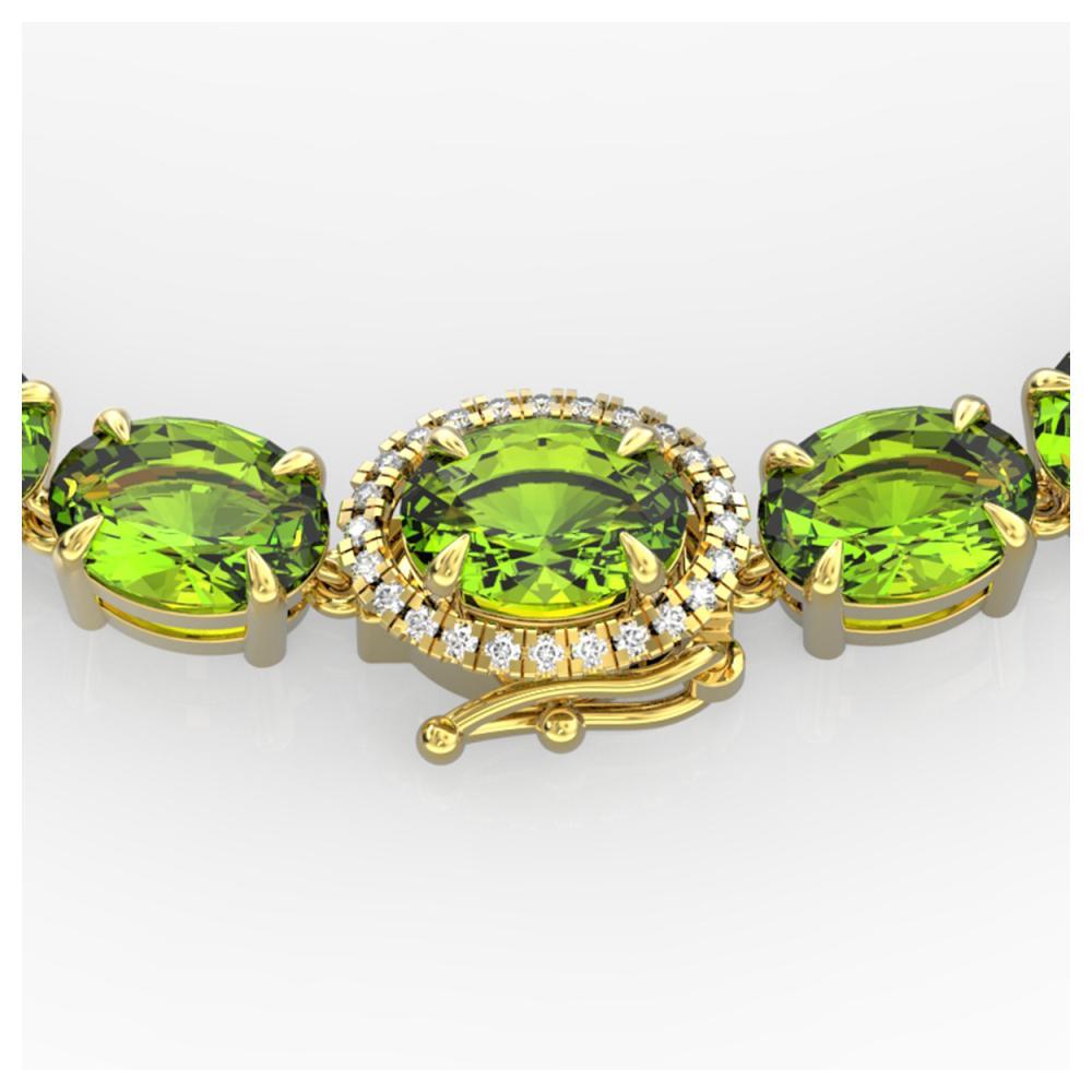 45.25 ctw Peridot & VS/SI Diamond Necklace 14K Yellow Gold - REF-309V3Y - SKU:40277