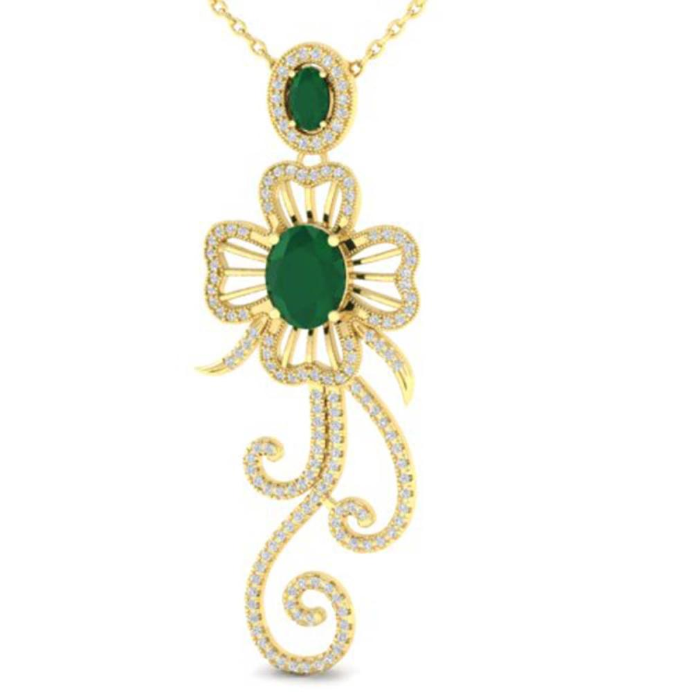5.85 ctw Emerald & VS/SI Diamond Earrings 14K Yellow Gold - REF-162A7V - SKU:21236