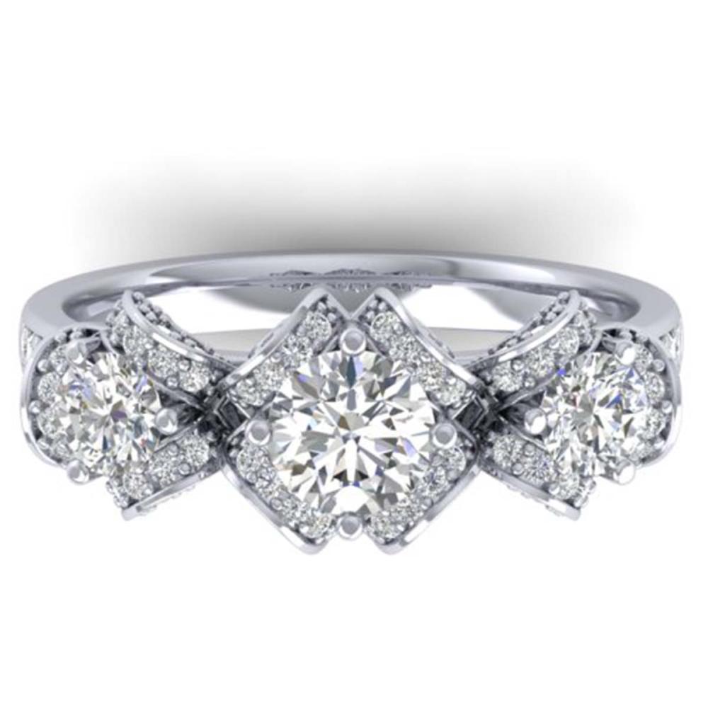 2 ctw VS/SI Diamond Art Deco 3 Stone Ring Band 18K White Gold - REF-254M5F - SKU:32540