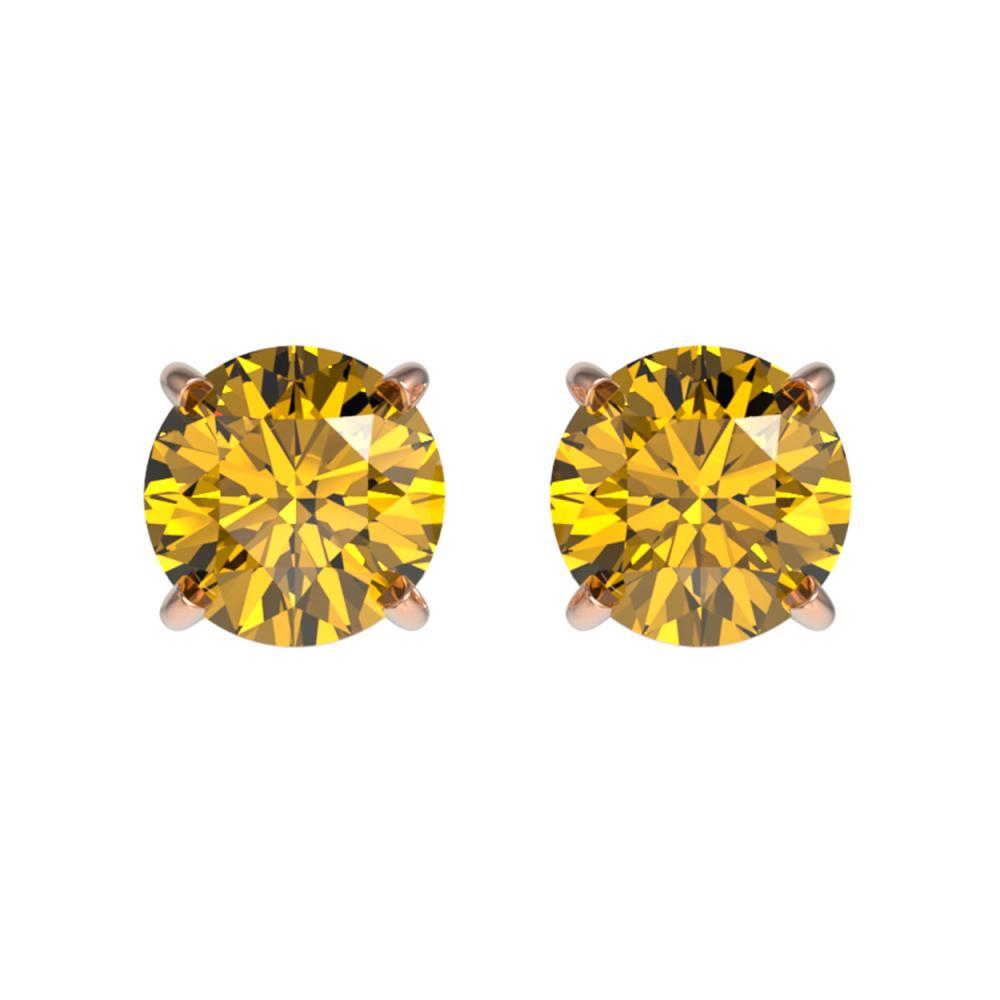 1 ctw Intense Yellow Diamond Stud Earrings 10K Rose Gold - REF-116H3M - SKU:33058