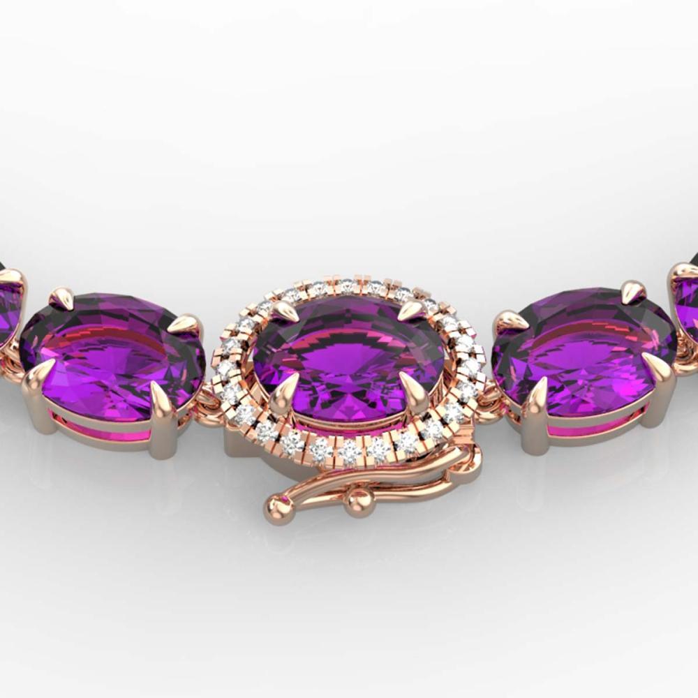 72 ctw Amethyst & VS/SI Diamond Necklace 14K Rose Gold - REF-281N8A - SKU:23450