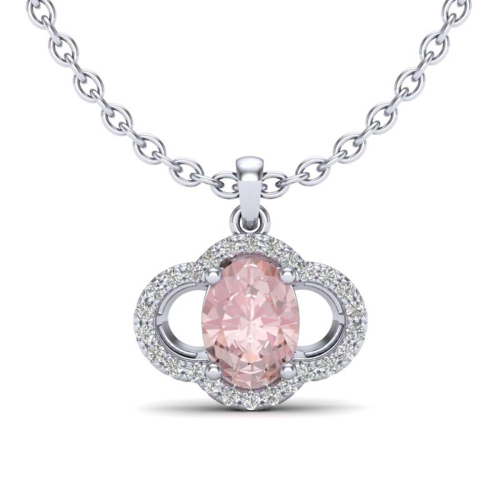 1.75 ctw Morganite & VS/SI Diamond Necklace 10K White Gold - REF-45X3R - SKU:20636