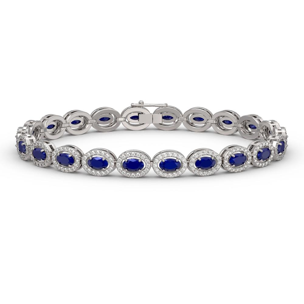 11.58 ctw Sapphire & Diamond Halo Bracelet 10K White Gold - REF-245X5R - SKU:40355