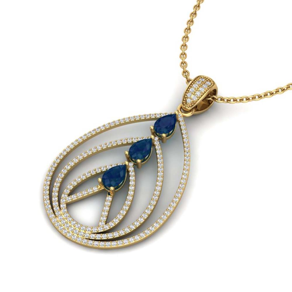 2 ctw Sapphire & VS/SI Diamond Necklace 18K Yellow Gold - REF-133V3Y - SKU:22472
