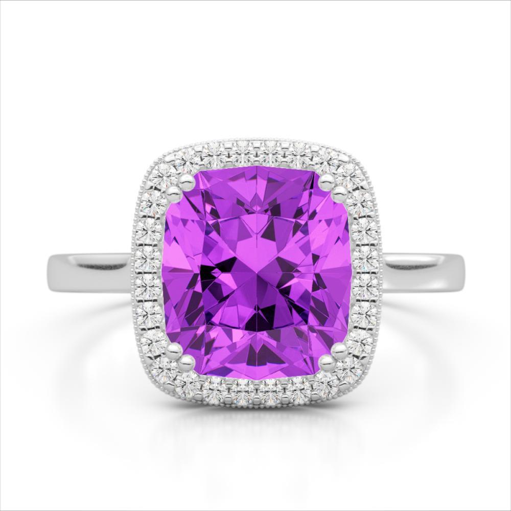 2.75 ctw Amethyst & VS/SI Diamond Halo Ring 18K White Gold - REF-50W4H - SKU:22835