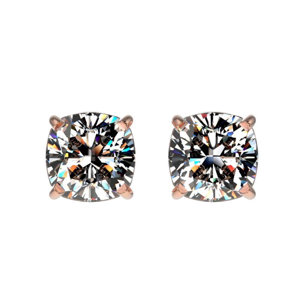 1 ctw VS/SI Cushion Diamond Stud Earrings 10K Rose Gold - REF-147X2R - SKU:33067