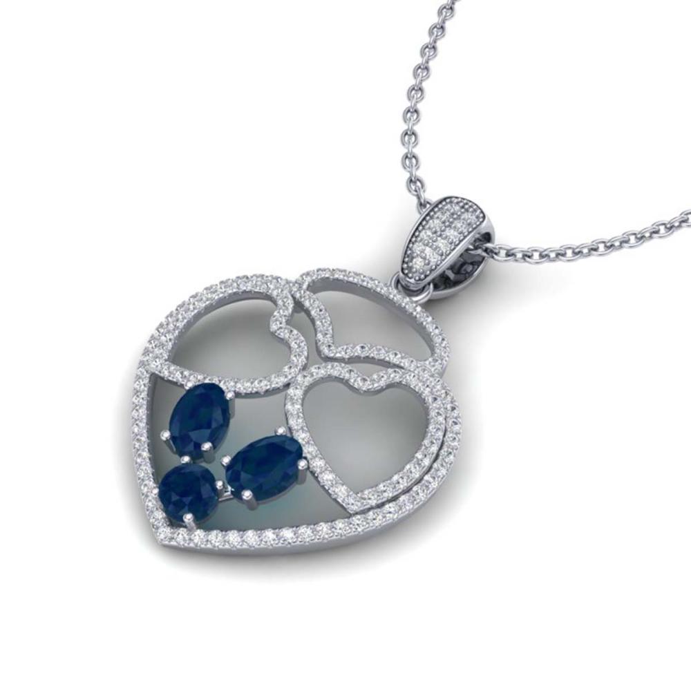 3 ctw Sapphire & Heart Necklace 14K White Gold - REF-134X5R - SKU:22543