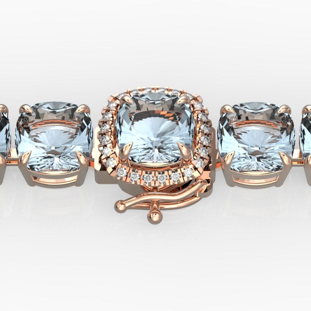 35 ctw Sky Blue Topaz & Diamond Bracelet 14K Rose Gold - REF-158V2Y - SKU:23328