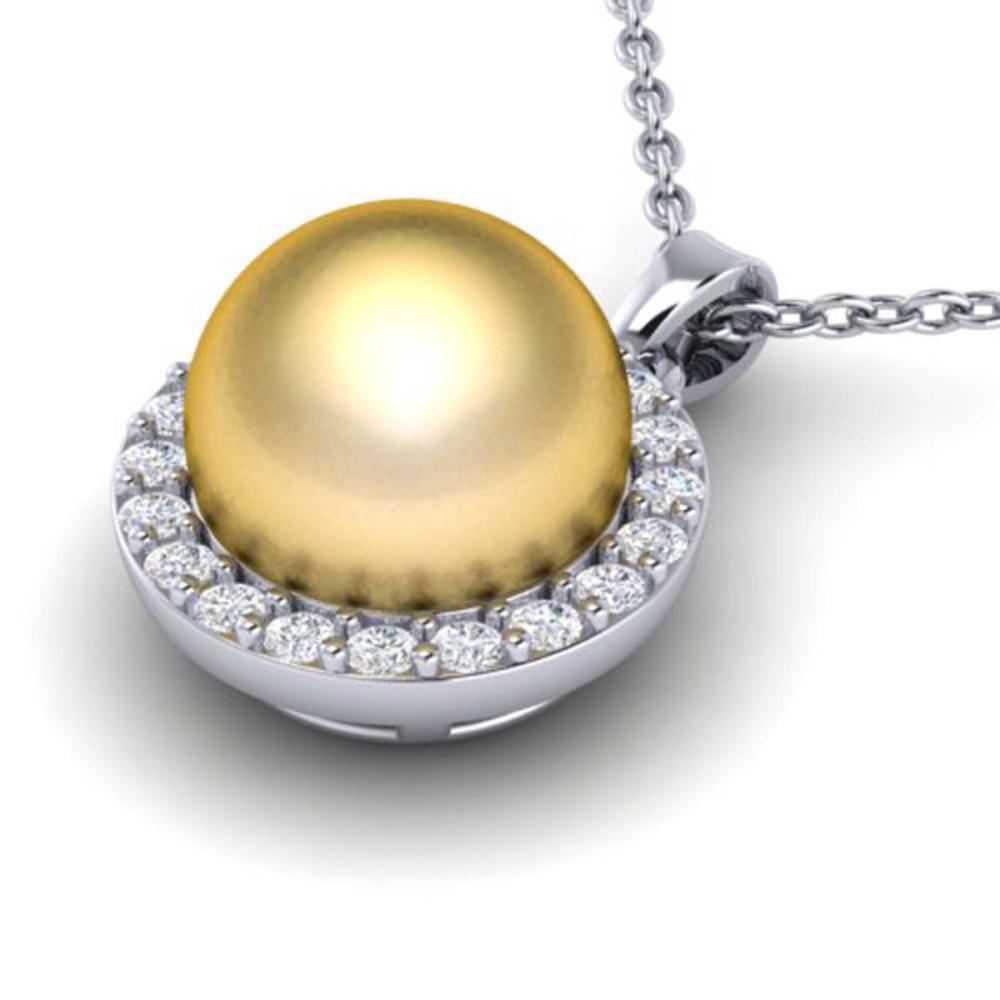 0.25 ctw Diamond & Golden Pearl Necklace 18K White Gold - REF-40W9H - SKU:21563