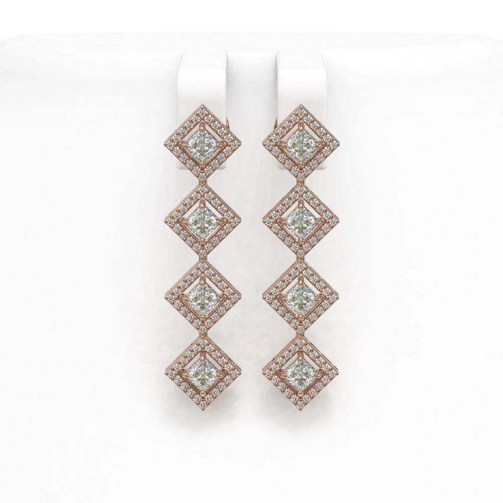 4.01 ctw Princess Diamond Earrings 18K Rose Gold - REF-346F3N - SKU:42972