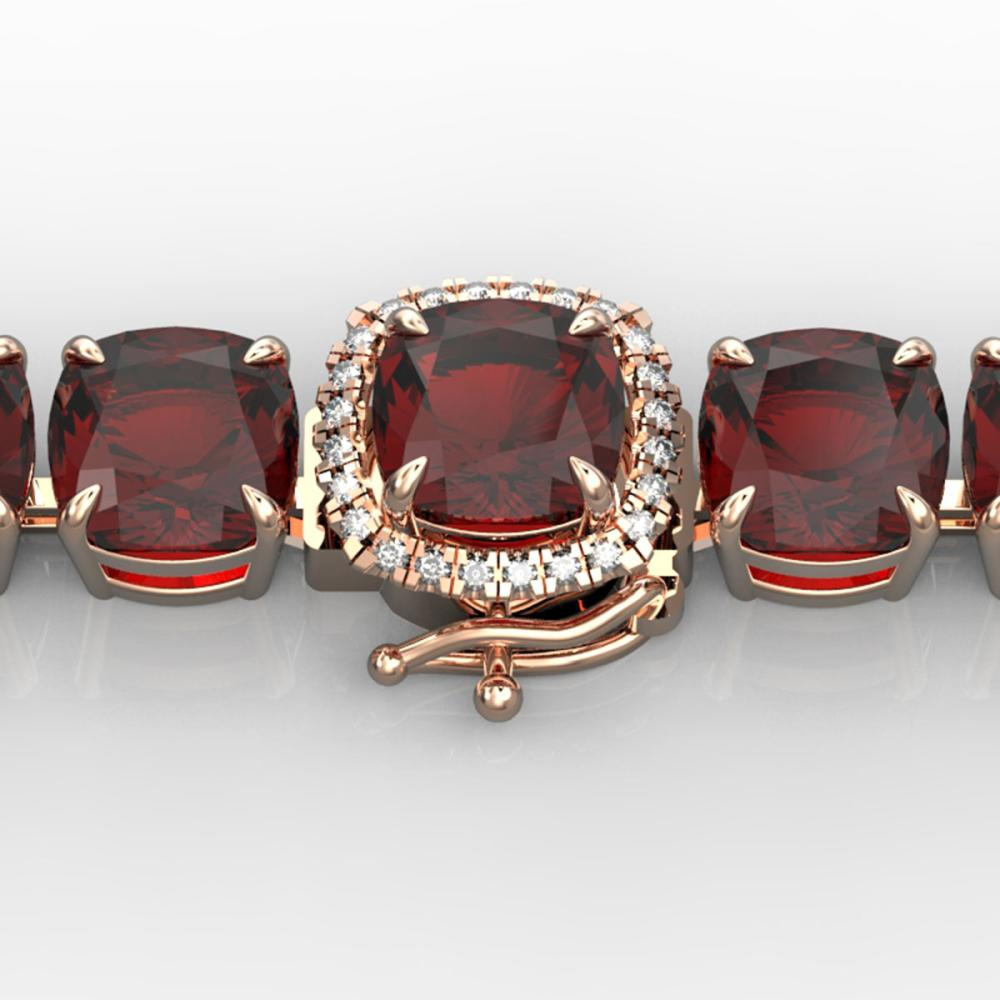 35 ctw Garnet & VS/SI Diamond Bracelet 14K Rose Gold - REF-134V2Y - SKU:23310