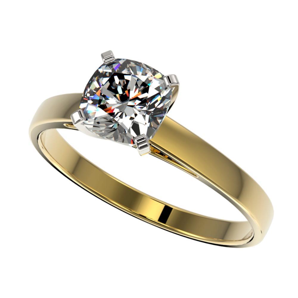 1 ctw VS/SI Cushion Cut Diamond Ring 10K Yellow Gold - REF-297X2R - SKU:32999