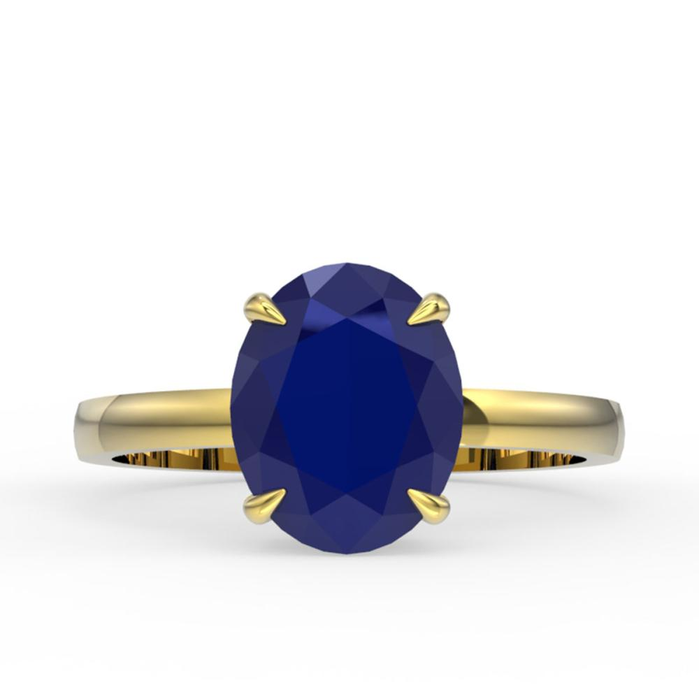 3.50 ctw Sapphire Solitaire Ring 18K Yellow Gold - REF-36K9W - SKU:22081