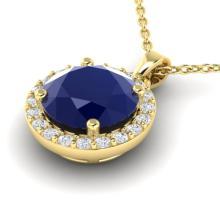 2 CTW Sapphire & Halo VS/SI Diamond Micro Pave Necklace 18K Gold - 21576-REF-44F2X