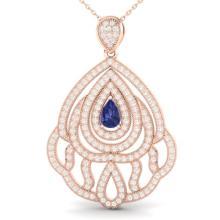 2 CTW Tanzanite & Micro Pave VS/SI Diamond Designer Necklace 14K Gold - 21273-REF-150V2F
