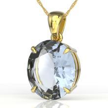 9 CTW Sky Blue Topaz Designer Solitaire Necklace 18K Gold - 21927-REF-43V5F