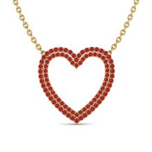 3.50 CTW Red Sapphire Heart Halo Designer Necklace Gold - 20485-REF-65Y6V