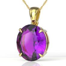 9 CTW Amethyst Designer Solitaire Necklace 18K Gold - 21890-REF-50Y2V