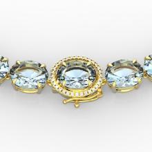 136 CTW Aquamarine & VS/SI Diamond Necklace 14K Gold - 22290-REF-1363K6W