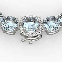 87 CTW Aquamarine & VS/SI Diamond Necklace 14K Gold - 23336-REF-726V9F