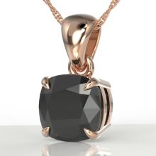 3 CTW Cushion Cut Black VS/SI Diamond Designer Solitaire Necklace 14K Gold - 21934-REF-73R3N