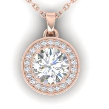 0.96 CTW Certified VS/SI Diamond Art Deco Micro Halo Necklace Gold - 32616-REF-179Y8V