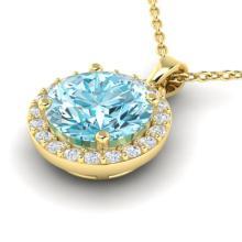 2 CTW Sky Topaz & Halo VS/SI Diamond Micro Pave Necklace 18K Gold - 21556-REF-41M3R