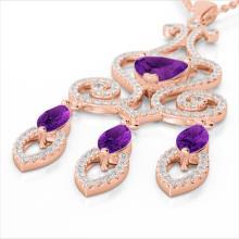 5.50 CTW Amethyst & Micro Pave VS/SI Diamond Heart Necklace 14K Gold - 23585-REF-148X7H