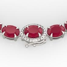 92 CTW Ruby & VS/SI Diamond Eternity Tennis Micro Halo Necklace 14K Gold - 23475-REF-618N2Y