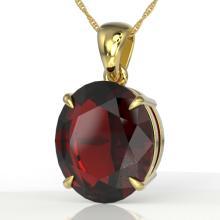 9 CTW Garnet Designer Solitaire Necklace 18K Gold - 21904-REF-46V7F