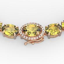 72 CTW Citrine & VS/SI Diamond Tennis Micro Pave Halo Necklace 14K Gold - 23456-REF-281Z8K