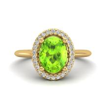 1.75 CTW Peridot & Micro VS/SI Diamond Bridal Ring Solitaire Halo 18K Gold - 21017-REF-51K3W