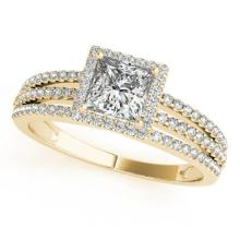 0.95 CTW Certified VS/SI Princess Diamond Solitaire Halo Ring 14K Gold - 25027-REF-143K3W
