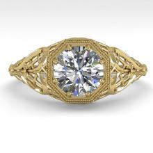 1.0 CTW VS/SI Diamond Solitaire Engagment Ring 14K Deco Size 7 Gold - 29827-REF-284V3F
