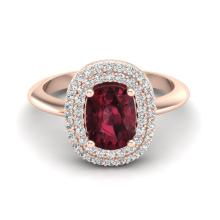 2.50 CTW Garnet With Micro VS/SI Diamond Ring Halo Bridal 14K Gold - 20744-REF-63H8Z