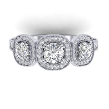 2.25 CTW Certified VS/SI Diamond 3 Stone Micro Halo Ring 18K Gold - 32696-REF-260V5F