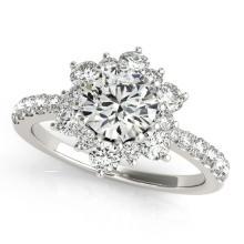 1.09 CTW Certified VS/SI Diamond Solitaire Halo Ring 14K White Gold - 24348-REF-121H6Z