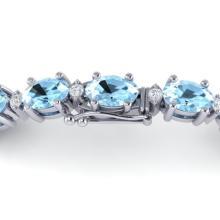 10 CTW Aquamarine & VS/SI Diamond Certified Eternity Bracelet Gold - 21440-REF-109N5Y