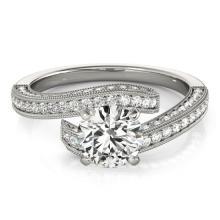 1.5 CTW Certified VS/SI Diamond Bypass Solitaire Ring 14K White Gold - 25619-REF-218Z2K