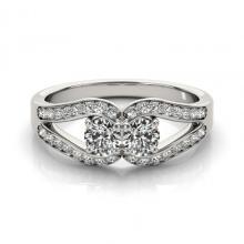 1.35 CTW Certified VS/SI Diamond 2 Stone 2 Stone Ring 14K White Gold - 26075-REF-192Y5V