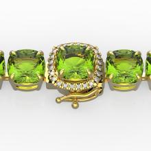 40 CTW Peridot & Micro Pave VS/SI Diamond Halo Bracelet 14K Yellow Gold - 23318-REF-259R8N