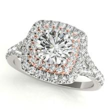 1.6 CTW Certified VS/SI Diamond Solitaire Halo Ring 14K Two Tone Gold - 24091-REF-378F2X