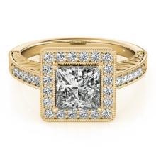 1.6 CTW Certified VS/SI Princess Diamond Solitaire Halo Ring 14K Gold - 24970-REF-552Y2V