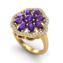 3 CTW Amethyst & VS/SI Diamond Cluster Designer Halo Ring Gold - 20772-REF-52R2N