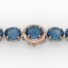 79 CTW London Blue Topaz & Micro VS/SI Diamond Halo Bracelet 14K Gold - 22265-REF-272V2F