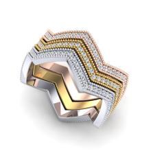 1.25 CTW Micro Pave VS/SI Diamond Eternity Trio Ring 18K Size 6 3/4 Gold - 20891-REF-113H5Z