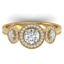 1.25 CTW Certified VS/SI Diamond Art Deco 3 Stone Micro Halo Ring Gold - 32620-REF-151K6W