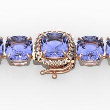 40 CTW Tanzanite & Pave VS/SI Diamond Bracelet 14K Gold - 23325-REF-548R2N