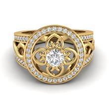 1CTW VS/SI Diamond Certified Micro Pave Designer Ring 18K Gold - 20851-REF-142V9F