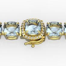 35 CTW Aquamarine & Micro VS/SI Diamond Halo Designer Bracelet 14K Gold - 23301-REF-304F7X
